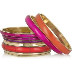 Antik Batik Vanilla set of six enameled bangles ($44) ❤ liked on Polyvore