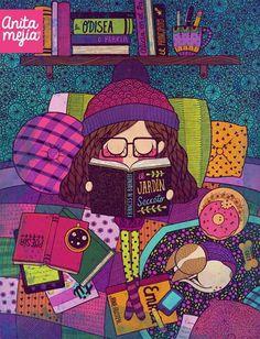 Anita Mejia Dibujo libros agustico cama gato