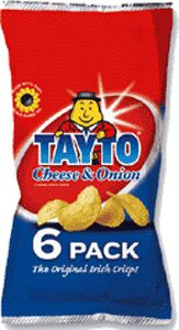 Food Ireland Tayto Cheese and Onion 6 Pack 150g (5.3oz)