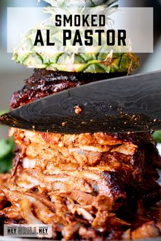 This Smoked Al Pastor is a rich and savory pork with an awesome chili marinade. It's smoky from the grill with gorgeous crispy edges. If you're a fan of al pastor, you'll love this smoky version of a delicious classic. Smoked Meat Recipes, Smoked Pork, Mexican Food Recipes, Ethnic Recipes, Mexican Dishes, Mexican Meals, Chef Recipes, Egg Recipes, Pork Recipes
