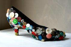 Button shoe, shoe sculpture, shoe art, art.. $20.00, via Etsy.