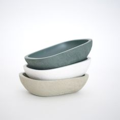 """Milk Design Shop """"Village"""" Soap Dish. With raw textures on the outside and smooth textures inside. A mixture of natural stone powder with resin, through a handmade manufacturing process."""