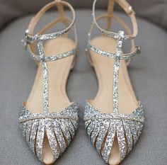 Beautiful, Charming Silver Wedding Flats T Strap Glitter Shoes for Bridesmaid you best choice for Wedding, Big day, Anniversary -TOP Design by FSJ Pretty Shoes, Beautiful Shoes, Cute Shoes, Me Too Shoes, Sparkle Flats, Glitter Shoes, Silver Flats, Sparkly Sandals, Gold Shoes
