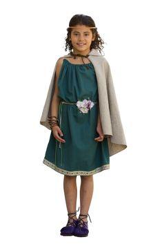 Vestido celta para niña modelo Artesana Vestimenta de algodón 100% con cinturón de flor Capa en tejido de mezcla de lino y algodón. Traje válido para recreación histórica y disfraz de niña celta, castrexa y vikinga Añade complementos para completar allook: joyas celtas, calzado celta