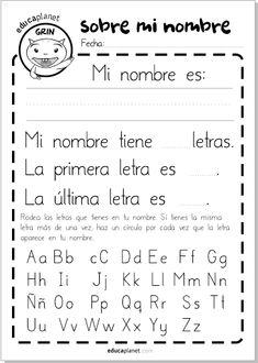 nombre letras educaplanet Preschool Spanish Lessons, Spanish Teaching Resources, Spanish Activities, Spanish Language Learning, Bilingual Education, Preschool Education, Name Activities, Preschool Activities, Classroom Language