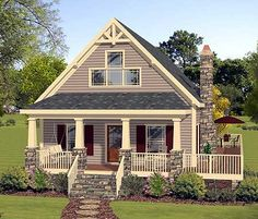 Master Up Cottage With Private Deck - 1,592 sq. ft. Total Living Area - 1,288 sq. ft. main floor & 304 sq. ft. upstairs - Plan 20111GA