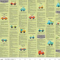 Riley Blake Fabric  1 Yard of Peak Hour Ad by ThreeDollsFabrics