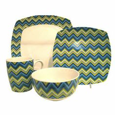Blue Colorful Zig Zag Lines 16 Piece Dinnerware Set Modern Dinner Dishes New