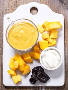 If you think that making pumpkin puree takes an entire day in the kitchen,  think again! This seasonal puree takes only 15 minutes to make and is  packed with vitamin A, beta carotene, potassium, protein and iron just from  the pumpkin. When mixed with yogurt and prunes your baby is not only  ge