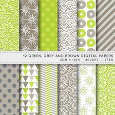 Green Brown Gray Printable Paper Pack Green Brown Digital Papers Printable Patterns by AzmariDigitals