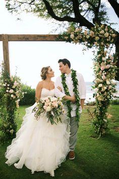 Gorgeous wedding ceremony arch flowers and bouquet by Teresa Sena Design - Andaz Maui - Anna Kim Photography