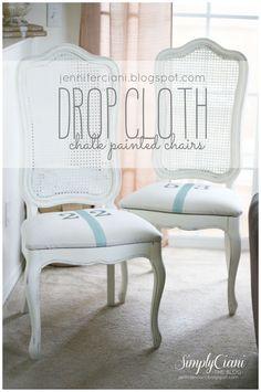 Annie Sloan Chalk Paint Drop Cloth Chairs - Duck Egg, Old White