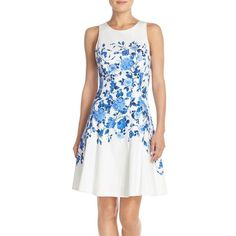 Maggy London Floral Sateen Fit & Flare Dress ($98) ❤ liked on Polyvore featuring dresses, petite, white fit and flare dress, white floral print dress, maggy london dresses, floral dress and floral fit and flare dress