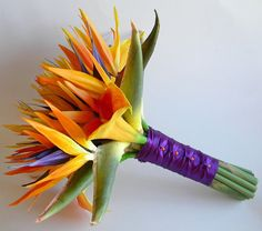 This gorgeous bridal bouquet was designed for a Bahamas destination wedding for one of my lovely brides. Bird of Paradise flowers are a perfect