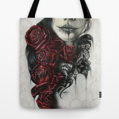 Entrap Tote Bag by Sheena Pike ART - $22.00 Society6  www.facebook.com/... By: Sheena Pike ~ ART ~ coloured pencil, PanPastels Art. sugar skull, rose, illustration, sheena pike art, roses tattoo, portrait, macabre, lace,dark art, gothic, girl portrait This piece can be purchased on my website...please visit! sheena-pike.artis... and thank you for the Pin...I appreciate the exposure. (copyright of SheenaPikeArt )