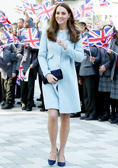 Kate Middleton, in Seraphine, visits The Kensington Aldridge Academy in London. January, 2015.