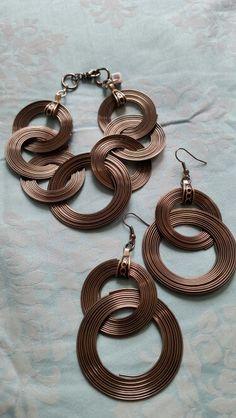 Pewter circular earring and bracelet set