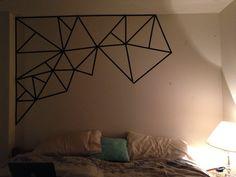 Old dorm room washi tape mural Masking Tape Art, Tape Wall Art, Washi Tape Wall, Diy Wall Art, Wall Decor, Washi Tape Headboard, Cool Wall Art, Deco Tape, Tape Painting