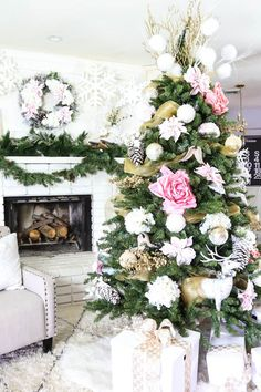 Pink and Gold Dream Christmas Tree by Classy Clutter