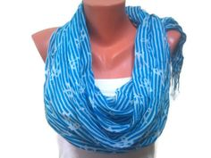 Turquoise scarf. Turquoise and White scarf. by TrendyScarf on Etsy, $11.99