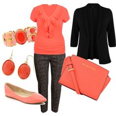 Plus Size Coral Professional by corinna-smith-lockamy on Polyvore featuring polyvore, fashion, style, maurices, H&M, MICHAEL Michael Kors and Liz Claiborne