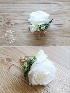 Rustic Boutonniere White Rose Boutonniere by MissHanaFloralDesign