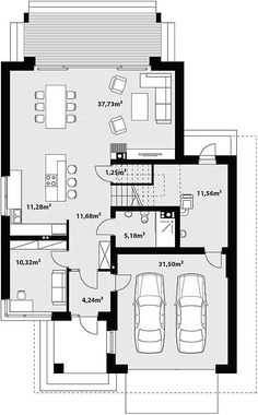 Projekt domu Karo 188 m2 - koszt budowy - EXTRADOM Free House Plans, House Plans One Story, House Floor Plans, Small Modern House Plans, Beautiful House Plans, Circle House, Villa Plan, Architect House, Architecture Plan