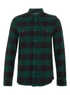 Topman Green Buffalo Check Long Sleeve Flannel Shirt