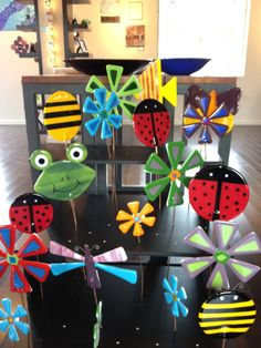 New garden stakes at Copper Moon... Frogs, crosses, flowers, butterflies, dragonflys, lady bugs, bubble bees, and fish! Come check them out!