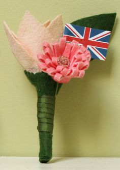Alternative Felt Flower Boutonniere Peach and Coral. Freesia and mum with country flag. Hand painted and beaded by PainttheMeadow