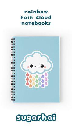 Cute rainbow cloud spiral notebooks from sugarhai. Cute Spiral Notebooks, Cute Notebooks, Notebook Doodles, Diy Notebook, Notebook Cover Design, Cute Journals, Bookbinding Tutorial, Diy Back To School, School Notebooks