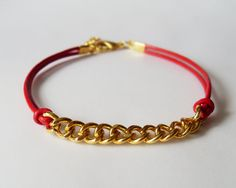 My DIY: Red Leather Strap Bracelet with Gold Color Brass Chain with by starryday
