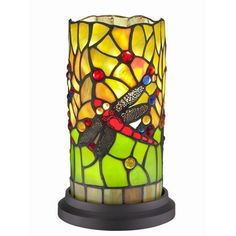 Dragonfly Handcrafted Stained Glass Tiffany Style Mini Table Lamp - Overstock™ Shopping - Great Deals on Amora Lighting Tiffany Style Lighting