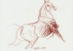 Original Horse Sketch 198 from Alfred De Dreux's painting