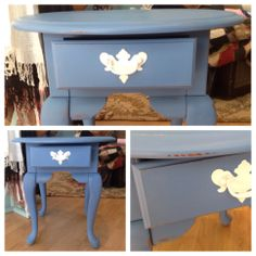 Refurbished table using Chalk Paint® decorative paint by Annie Sloan - Greek Blue