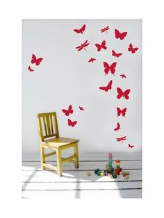 The Butterflies are part of the Ferm Living kids wall sticker collection. This vinyl design is inspired by Scandinavian nature and makes an interesting feature to any wall.