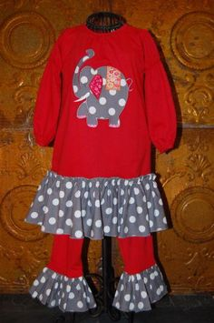 LaJenns Girls Red knit 2 piece with elephant applique and grey dot ruffles.  Size: 2t (1) 3t (1)  $66 Shipped