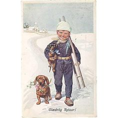 Antique European New Year's card, published by B.R.W.I. 2776-4. Depicting little boy, with ladder and two dogs, in winter scenery.