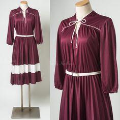 70s Dress Vintage Maroon Dress Mad Men by TrendyHipBuysVintage