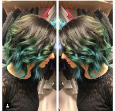 Green/teal ombre Teal Ombre, Green Hair, Hare, Hair Colors, Hair Inspo, Colorful, Hair Styles, Beauty, Hair Plait Styles