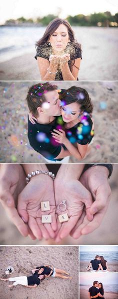 Cute engagement session with a confetti, glitter and a dog