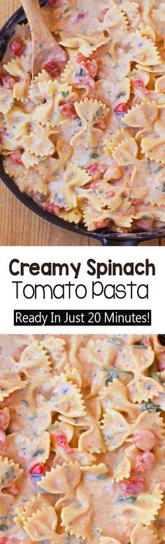 Creamy Spinach Tomato Pasta Creamy Tomato Pasta, Creamy Pasta Recipes, Creamy Spinach, Spinach Pasta, Spinach Recipes, Spinach Noodles, Chicken Recipes, Garlic Pasta, Beef Recipes