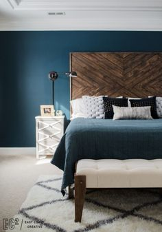 DIY EastCoastCreative MasterBedroom Headboard Pillows Nightstand Lighting