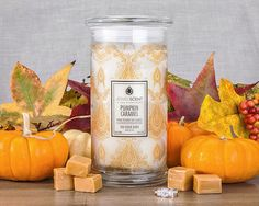 ***Pumpkin Caramel Candle*** Enjoy the heady aroma of cinnamon, ground nutmeg and pumpkin. Allspice weaves its spell, blending with the sweet scent of crisped vanilla, both of which are complemented by the rich flavors of caramel and cream. Soy Wax Candles, Scented Candles, Buffy, Classic Candles, Aroma Beads, Jewelry Candles, Wax Tarts, Luxury Candles, A Pumpkin