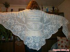 Crochet Knitting Handicraft: Shawl with Roses Knitted Shawls, Crochet Shawl, Diy Crochet, Shawls And Wraps, Handicraft, Crochet Projects, Dress Skirt, Free Pattern, Knitting