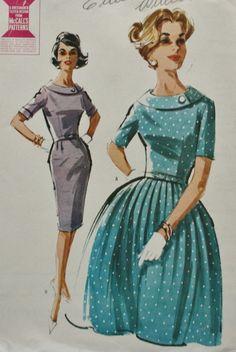6758 M Vtg Pattern Dress with Slim or Full Skirt 14 Bust 34 Dart Fit Bodice Vintage Dresses, Vintage Outfits, Vintage Clothing, Rockabilly Clothing, 1960s Fashion, Vintage Fashion, Vintage Vogue Patterns, 60s Patterns, Patron Vintage