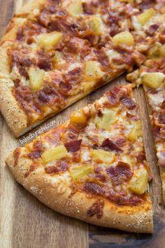 Three Cheese Hawaiian Pizza with 5 Minute Dough Recipe from @bakedbyrachel