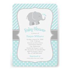 Elephant Baby Shower Invitations | Aqua Blue and Gray Colors