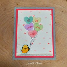 Conversation Heart card featuring Lawn Fawn.