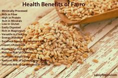 Health Benefits of Farro. This infographic contains information on reasons you should be eating this superfood. Vegan Vegetarian